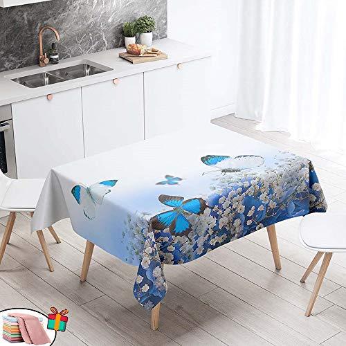 Morbuy Nappe Anti Tache Rectangulaire, Imperméable Étanche à l'huile 3D Imprimé Carrée Couverture de Table Lavable pour Ménage Cuisine Jardin Picnic Exterieur (Blanches Fleurs,140x200cm)