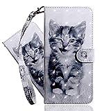 IMEIKONST LG K40 Hülle PU Leder 3D Muster Magnetic Clasp Schutzhülle bookstyle Card Holder Flip Brieftasche Ständer Tasche Handyhülle für LG K40 Little Smile Cat BX
