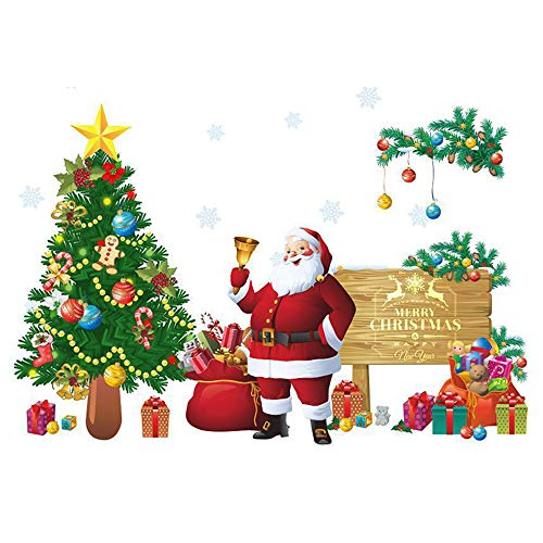 Lhbfcy Wiederverwendbar Wandtattoo Fenster Fensterbilder Für Weihnachten Fenster Haftende Aufkleber Weihnachtsmann Aufkleber Frohe Fensteraufkleber Für Ihre Schlafzimmer,Salons,Esszimmer-30x90cm