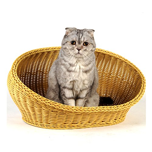 KTYX Cat House Pet Cat Nest PP Resin Bed Rattan Ventilation S:49X35X28CM,M:57X41X34CM (Size : M)