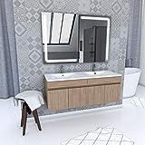Aurlane Ensemble Meuble de Salle de Bain Chene Celtique 120cm Suspendu + Vasque ceramique Blanche + Miroir