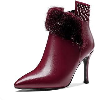 Stivaletti Donne con Tacco Gattino Signore Stiletto Media Leather Shoes Heels Boots Patent Zip 8.5Cm Tacco Alto