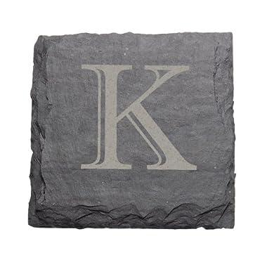 J.K. Adams 4-Inch Square Monogrammed Initial Slate Coasters, Set of 4,  K