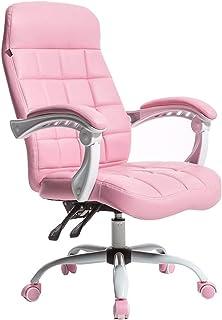 Chair Silla de Oficina ergonómica para Muebles, sillas de Escritorio giratorias de 360 ° a Media Altura Sillas de Trabajo de Cuero regenerado Rosa con Altura y elevación Ajustables