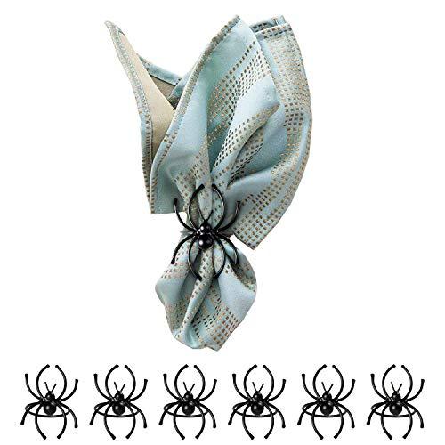teyiwei 6 Stück Halloween Dekoration Spinnenringhalter, Mini Schwarze Spinne Serviettenring, Halloween Simulation Spinnenclip, Party Küchentisch Kamin Festliche Dekorationen