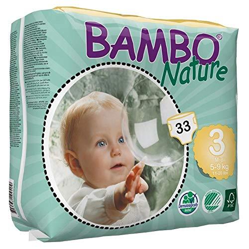 Bambo Nature Midi Size 3 (11-20lb / 5-9kg) Premium Eco-Nappies - 33 pieces per pack