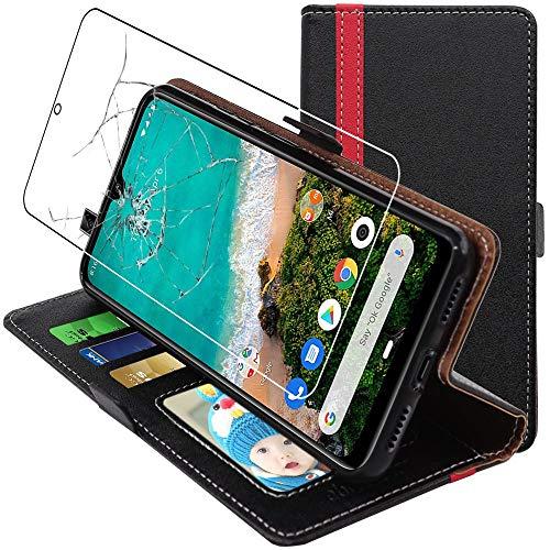 """ebestStar - Cover Compatibile con Xiaomi Mi A3 Custodia Portafoglio Pelle PU Protezione Libro Flip, Nero/Rosso + Pellicola Vetro Temperato [NB: Leggere Descrizione] [Phone: 153.5x71.9x8.5mm, 6.01""""]"""