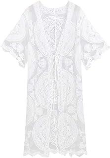 dc72846cb4e5 Copricostume Mare Donna Lungo Estate Pizzo - Homebaby Abito Donna Lungo  Elegante Kimono Cardigan Costume da