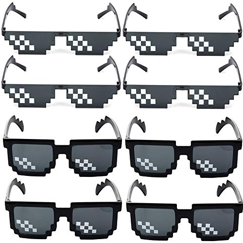 8 Piezas Gafas Thug Life, Gafas sol Mosaico, Mosaico Pixelado Unisex Gafas Sol, Diseño Mosaico, Para Fiestas y Camuflaje