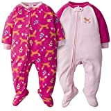 Gerber Baby Girls 2-Pack Blanket Sleeper, Pink Fox, 12 Months