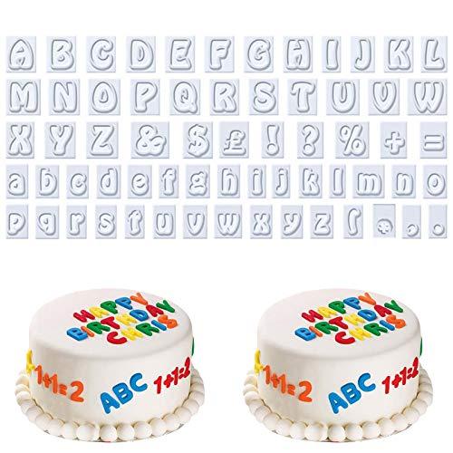 AvoDovA 64 Piezas Cortador Galletas Letras, Plástico Moldes de Galletas, Moldes Letras para Fondant, Moldes de Galletas Letra, Bricolaje Moldes para Fondant Galletas Pasteles Decoración