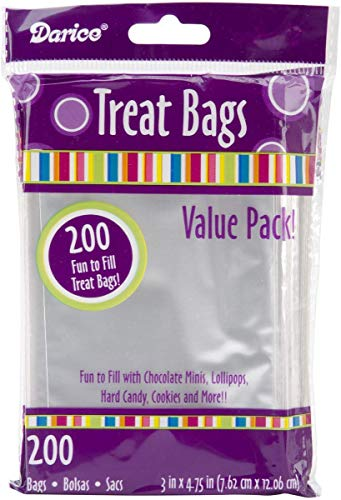 Darice Value Pack, 3 x 4.7 inches, 200 Pieces Treat bags, clear/transparent (Package May Vary)