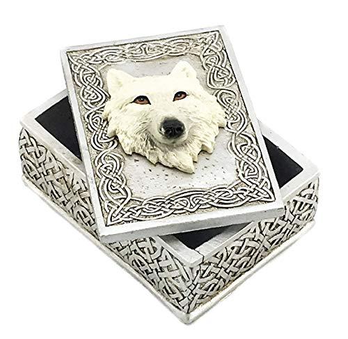 Bellaa 24728 Wolf Box Celtic Secret Storage Jewelry Trinket Memento Keepsake Case