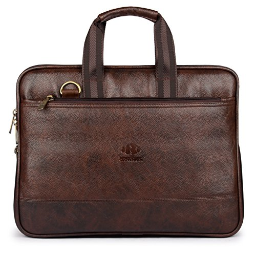 The Clownfish Vegan Leather 10 Ltrs Unisex 14 inch Formal Laptop Briefcase (Dark Brown)