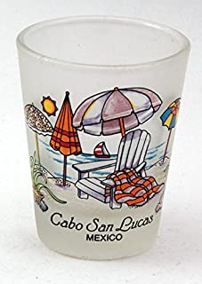 Cabo San Lucas Mexico Beach Chairs Frosted Shot Glass