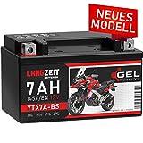 LANGZEIT YTX7A-BS GEL Motorradbatterie 12V 7Ah 145A/EN GEL Batterie 12V Roller Batterie doppelte Lebensdauer entspricht 50615 CTX7A-BS JMTX7A-BS vorgeladen auslaufsicher wartungsfrei ersetzt 6Ah