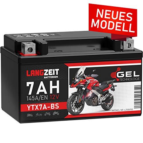 LANGZEIT YTX7A-BS Motorradbatterie 12V 7Ah 145A/EN Gel Batterie 12V Roller Batterie doppelte Lebensdauer entspricht 50615 CTX7A-BS JMTX7A-BS vorgeladen auslaufsicher wartungsfrei ersetzt 6Ah