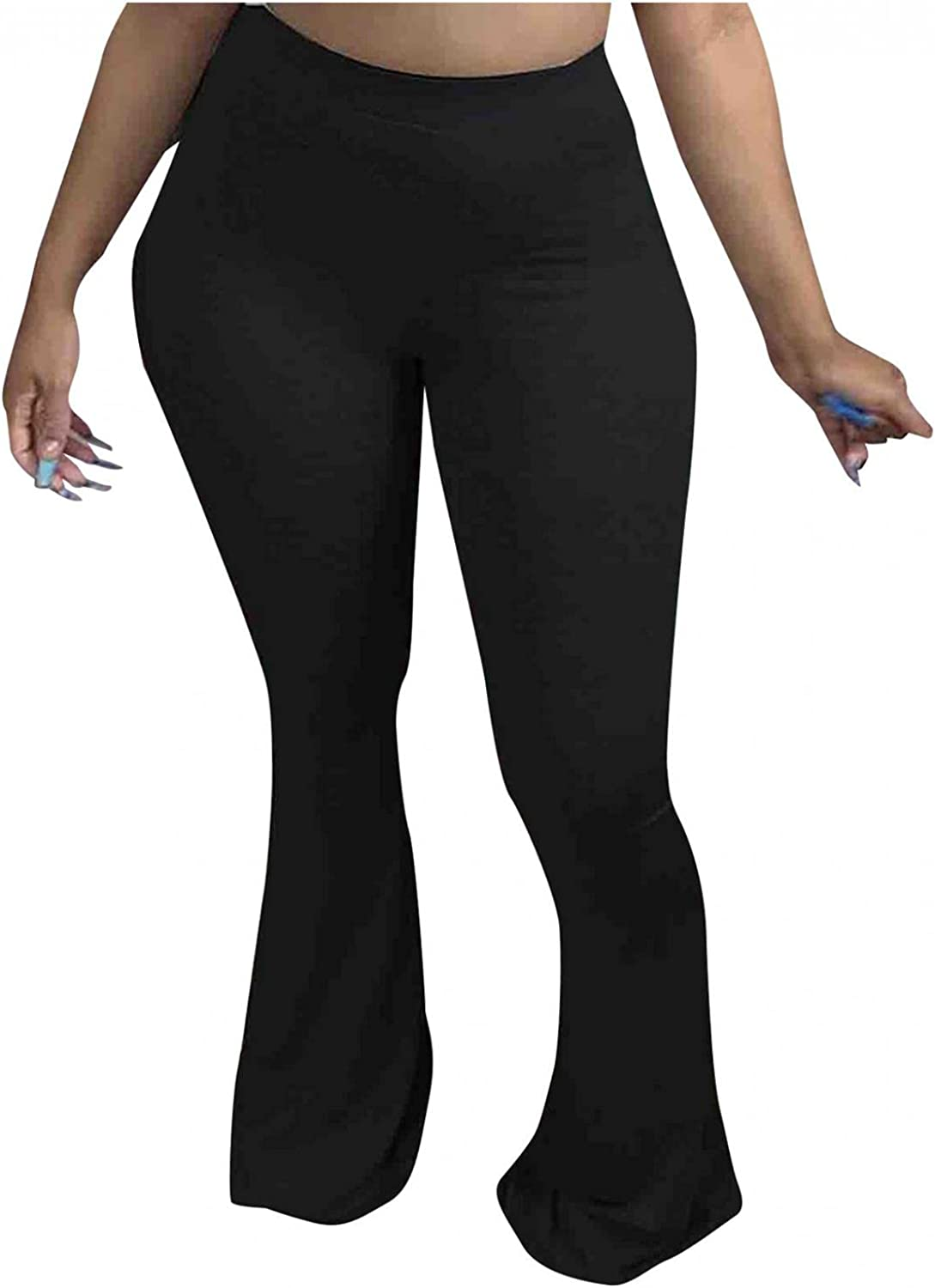 LEIYAN Womens Casual Bell Bottom Pants High Waist Skinny Fit Wide Leg Dancing Bootcut Trousers Flares Plus Size