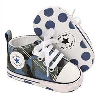 SABATUTU Unisex Baby Boys Girls Shoes Star High Top Ankle Toddler Sneaker Soft Anti-Slip Sole Newborn Infant First Walkers...