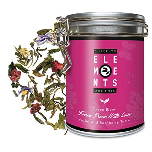 """Grüner Tee Bio Lose Dose mit Himbeer-Veilchen Geschmack, Aromatisierter Himbeertee mit Grüntee und Weißtee """"From Paris With Love"""" ca. 40 Tassen - 100 Gramm Premium von alveus"""