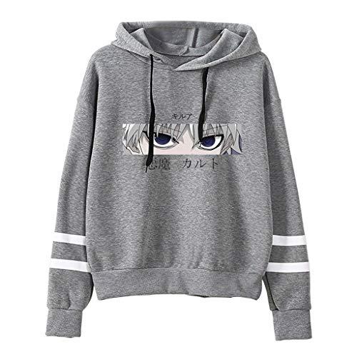 Hunter X Hunter Hoodie Damen, Herren Killua Hisoka Baka Pullover Teenager Mädchen Streifen Baseball Pulli Männer Anime 3D Druck Langarm Sweatshirt Kapuzenpullover Kapuzenpulli Shirt (1-Grau,3XL)