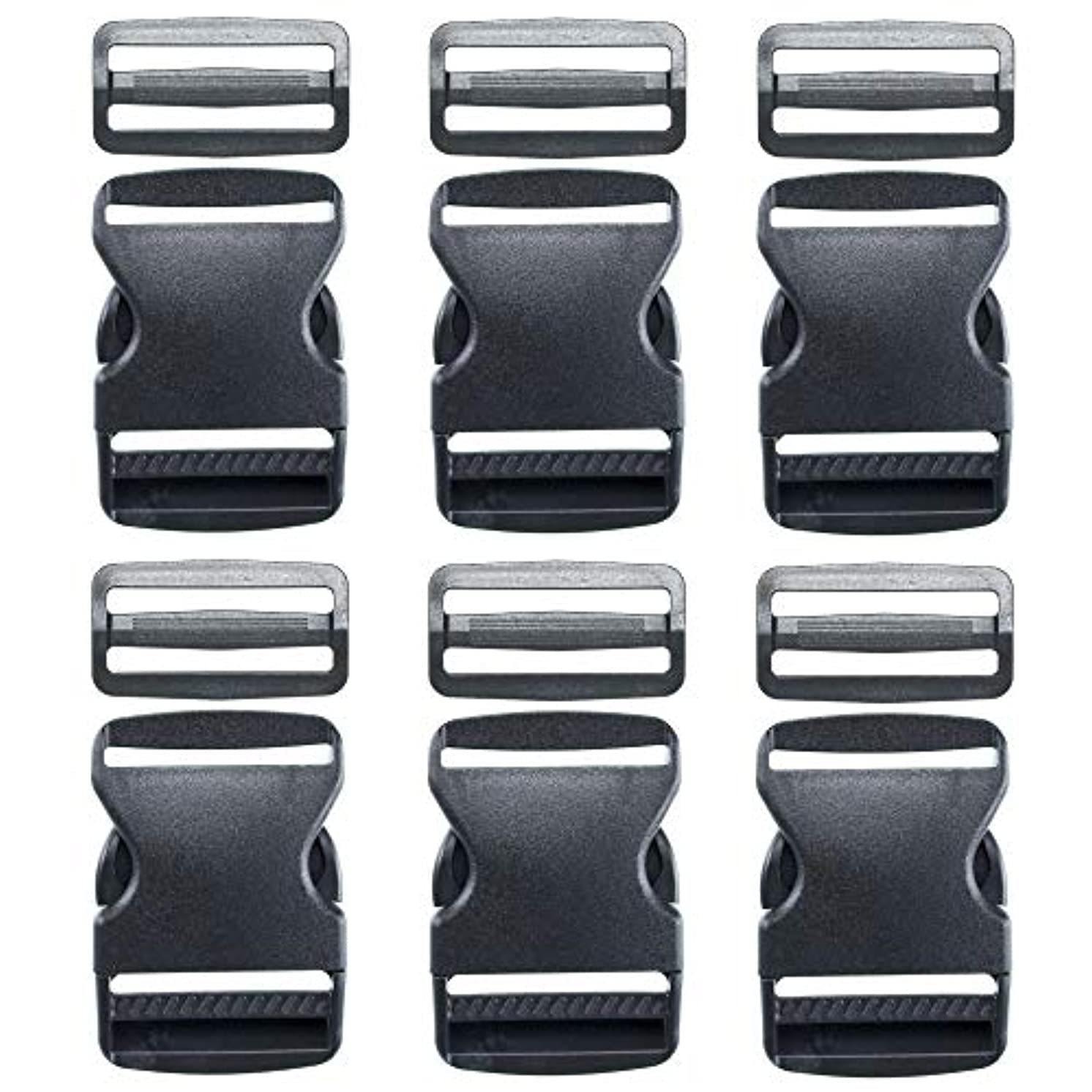 "6 – 2"" Set of Flat Heavy-Duty Side Release Buckles and Tri-Glide Slides - Dual Adjustable Quick Release Buckles and Durable Tri-Glides for Luggage Straps, Pet Collars, Backpacks, Repairs - Black"