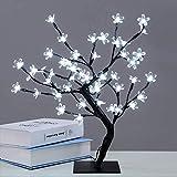Luces de árbol, lámpara de Mesa Blanca cálida, Flor de Cerezo de 18 Pulgadas, 48 Luces LED de Flores de Cristal, Pared Decorativa navideña, Dormitorio, Sala de Estar, hogar, Blanco