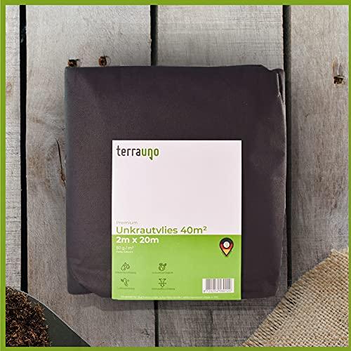 TerraUno - Premium Unkrautvlies 50 g/m² - 2m x 20m = 40m² Unkrautfolie I wasserdurchlässig, atmungsaktiv & nährstoffdurchlässig I Gartenvlies gegen Unkraut für den Gartenbau