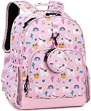 Choco Mocha School Backpacks for Teen Girls Kids Backpack for Elementary Middle School Bookbag 17inch Llama Alpaca 9-12-14 10-12 with Chest Strap Pink