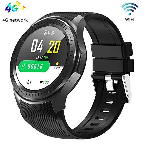 WiFi GPS Smart Watch Bracelet, 1GB + 16GB Monitor de Ritmo cardíaco 4G Call Bluetooth Fitness Tracker Soporte Ambos 2.4G / 5G Podómetro Reloj Deportivo,Black