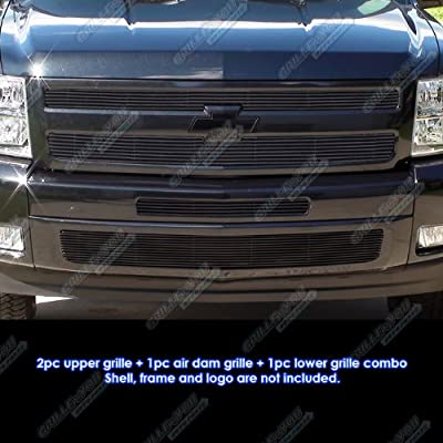 APS Compatible with 2007-2013 Chevy Silverado 1500 Aluminum Black Horizontal Billet Grille Insert Combo S18-H33116