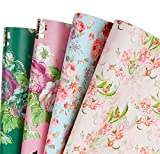 RUSPEPA Wrapping Paper Roll Sheets - Floral Design Perfect for Wedding,Birthday, Mothers Day, Congrats - 8 Folded Sheets - 19.65 X27.5 inches