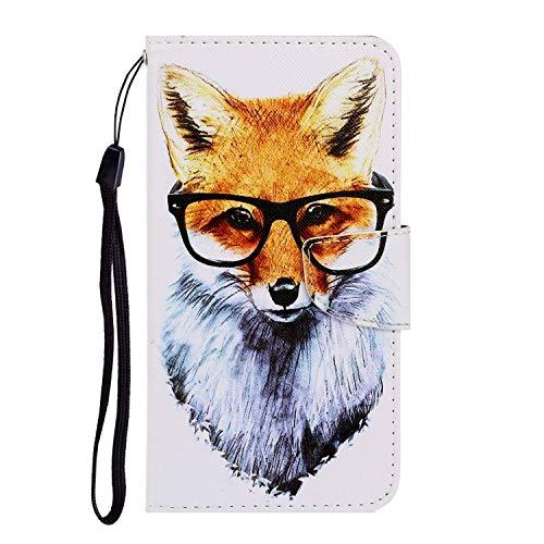Nadoli Galaxy A11 Hülle,Fuchs Muster PU Leder Magnetisch Flip Brieftasche mit Handschlaufe Kartenslot Ständer Klapphülle für Samsung Galaxy A11