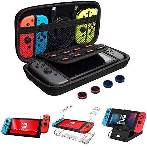 CHEPULA 13 in 1 Accessories Bundle for Nintendo Switch with Carrying Case,Clear Protective Case,Foldable Play Stand,9H Screen Protector,Joy-Con Thumb Grip Caps(4 Packs)& Strap