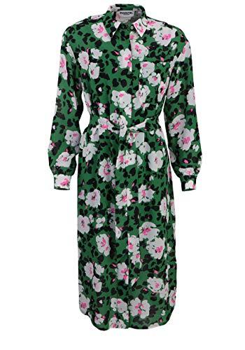 ESSENTIEL Antwerp Langarm Hemdkleid VOHO geknöpft Tasche Blumen grün Größe 38