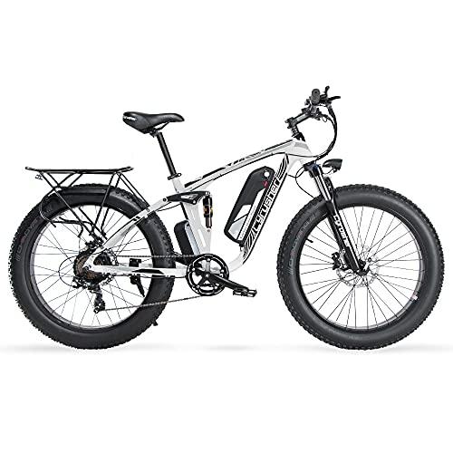 Cyrusher Upgraded XF800 Electric Mountain Bike 750W/1500W Upto 35mph 26inch Fat Tire e-Bike 7 Speeds Beach Cruiser