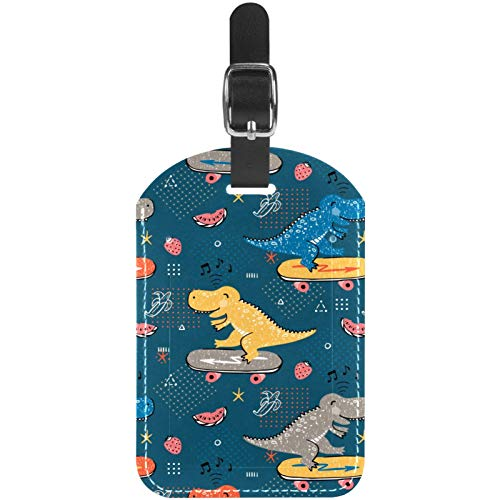 Luggage Tags Dinasaur Skater Leather Travel Suitcase Labels 1 Packs