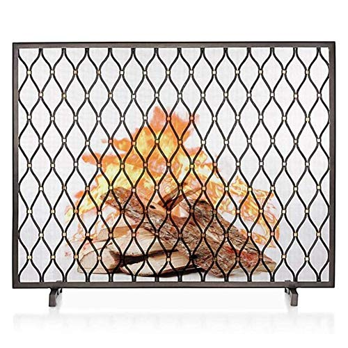 Review Of FF Fireplace Screens Free-Standing Fireplace Screen with Mesh, Safety Wrought Iron Flat Si...