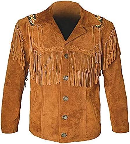 Classyak Western Leather Jackets for Men Cowboy Leather Jacket and Fringe Beaded Coat