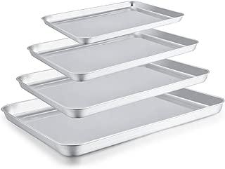 TeamFar Baking Sheet Set of 4, Stainless Steel Baking Pan Tray Cookie Sheet, Non Toxic & Healthy, Rust Free & Easy Clean - Dishwasher Safe