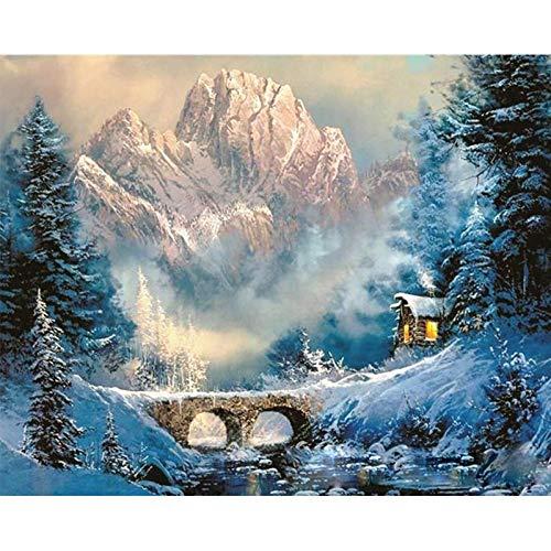 zhxx Pintar por Numeros Adultos Valle Invierno Nieve Cabina Paisajes DIY Arte De La Pared Moderno Lienzo De Pintura Regalo Decoración para El Hogar 40X50Cm Sin Marco