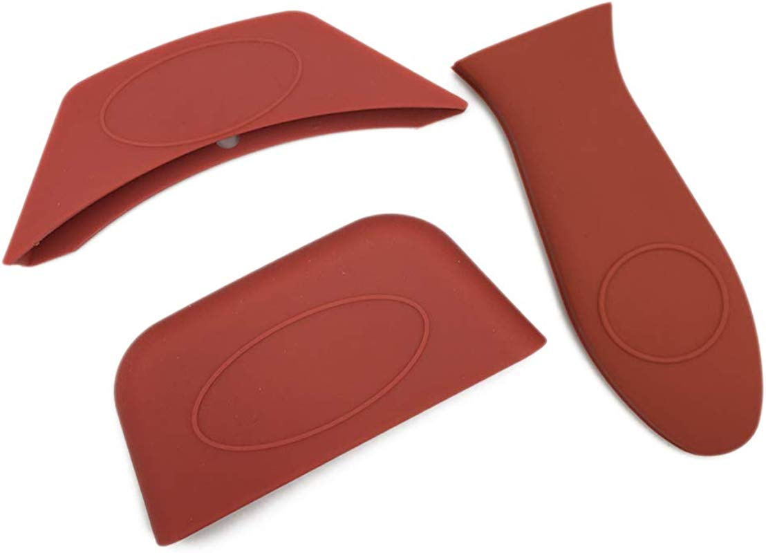 Dohuge 3 Pack Silicone Hot Handle Holder Hot Mitts Assist Holder Heat Protecting Silicone Hot Handle Cover Sleeve Grip For Cast Iron Skillets Frying Pans Griddles Metal Frying Pans Red