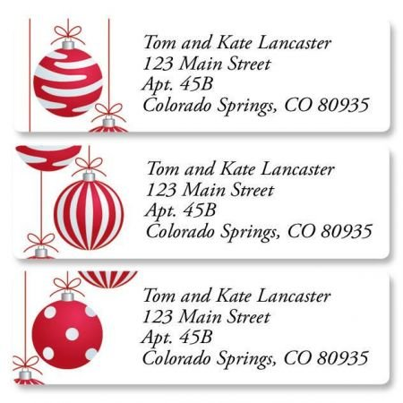 Crimson Delight Personalized Christmas Return Address Labels – Set of 240, Small Self-Adhesive, Flat-Sheet Labels (3 Designs), By Colorful Images