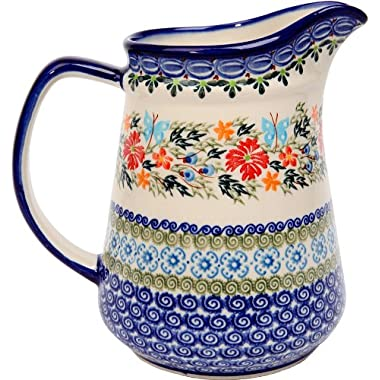 Polish Pottery Ceramika Boleslawiec,  0208/238, Pitcher Jacek 4, 5 1/2 Cups, Royal Blue Patterns with Red Cornflower and Blue Butterflies Motif