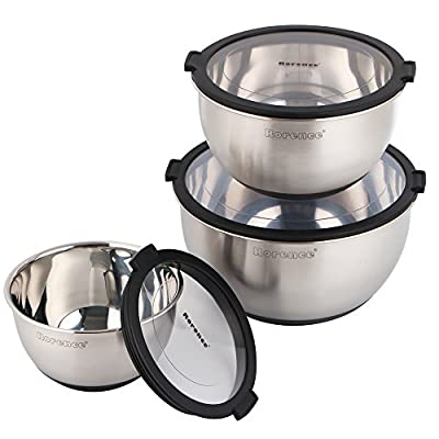 Rorence Stainless Steel Non-Slip Mixing Bowls With Pour Spout, Handle and Lid, Set of 3