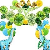 Juego de globos de dinosaurios de 52 piezas, para cumpleaños infantiles, juego de animales, decoración de cumpleaños, dinosaurios, guirnalda temática, decoración para niños y niñas
