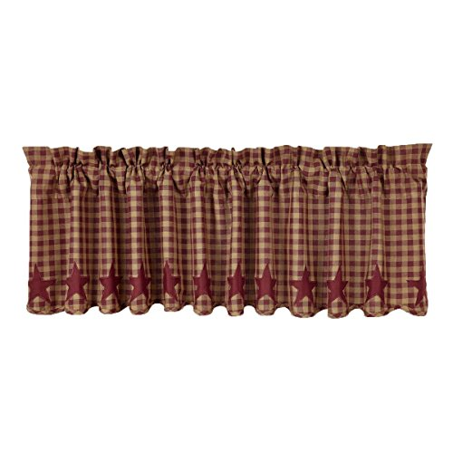 VHC Brands Classic Country Primitive Kitchen Window Curtains - Star Red Scalloped Valance, Burgundy