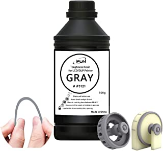 IFUN 3D Resin Toughness Highly Impact Resistant Resin for LCD DLP Printer Compatible with Anycubic 405nm Rapid UV 3D Printing Resin Liquid Photopolymer Gray 500ml