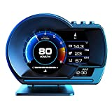 Kairiyard 4' HUD OBD2 Display Head Up Display GPS 2 Systems HUD OBD2 Gauge Car ECU Computer RPM Speedometer Odometer Turbo/Turbine Pressure Oil/Water Temperature Compass Time Altitude Fault Code Clean