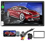 Car Stereo Double Din Car Radio 7 Inch HD Player MP5 Touch Screen Digital Display Bluetooth Multimedia 2 Din FM Radio Receiver AUX In USB TF Card Input Mobile Mirror Link with 12 LED Car Backup Camera